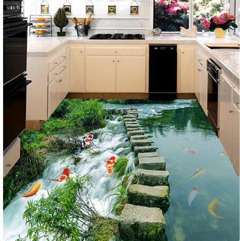 3D wallpaper floor for living room fish liver 3D wall