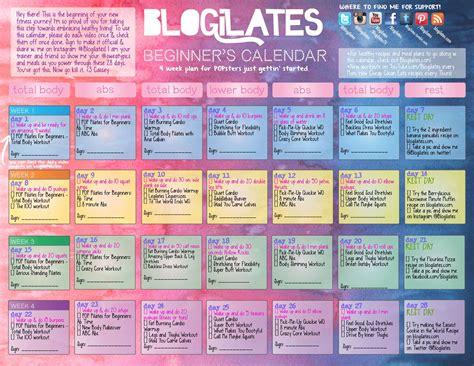 blogilates beginners calendar  youtube workouts
