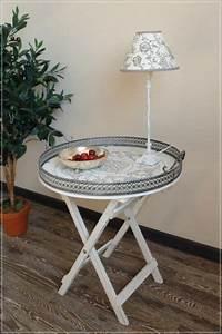 Beistelltisch Weiß Landhaus : tablett tisch holz und metall shabby stil beistelltisch ~ Watch28wear.com Haus und Dekorationen