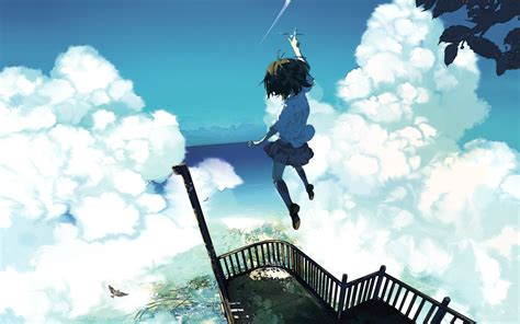 sky anime girls sea clouds original characters