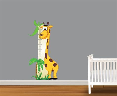 giraffe growth chart growth chart vinyl wall decal peel and stick 1218