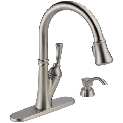 pull faucet kitchen shop delta savile stainless 1 handle pull down kitchen faucet at lowes com