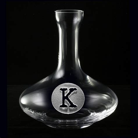 personalized wine carafe  engraved initial crystal imagery