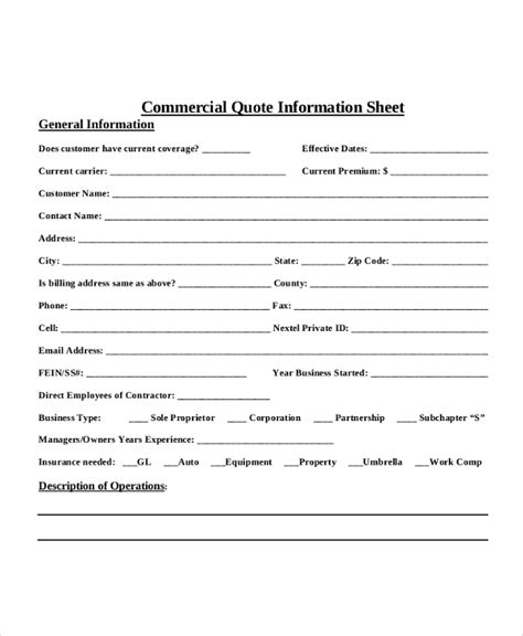 auto insurance quote sheet template  modern rules