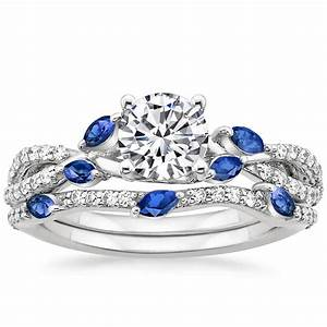 18k white gold luxe willow sapphire and diamond matched set With brilliant earth wedding ring sets