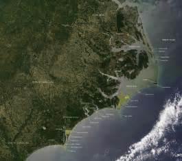 Map of NC North Carolina Coast Satellite Image