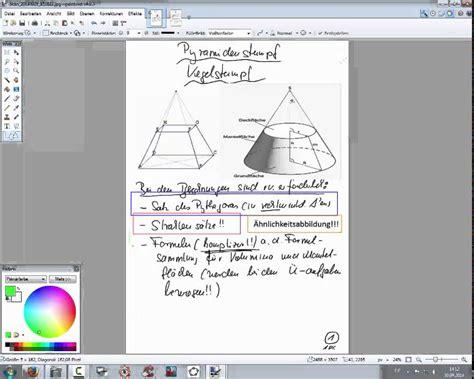 pyramidenstumpf kegelstumpf erlaeuterungen und aufgaben