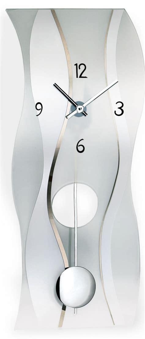 Pendule Murale Verre Satiné à Balancier Glasswave