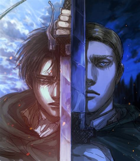wallpaper shingeki  kyojin levi erwin smith sword