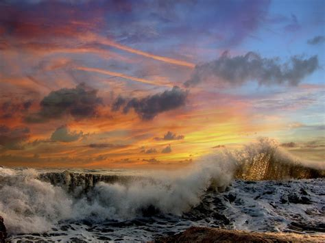 Crashing Waves At Sunset Pictures, Photos, And Images For