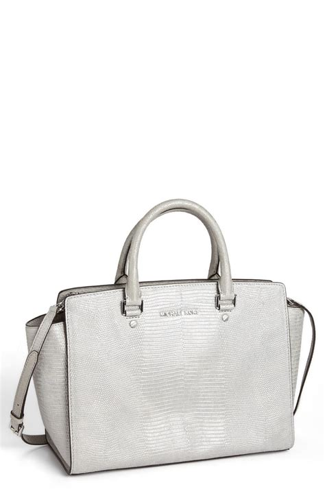 michael michael kors selma large lizard embossed