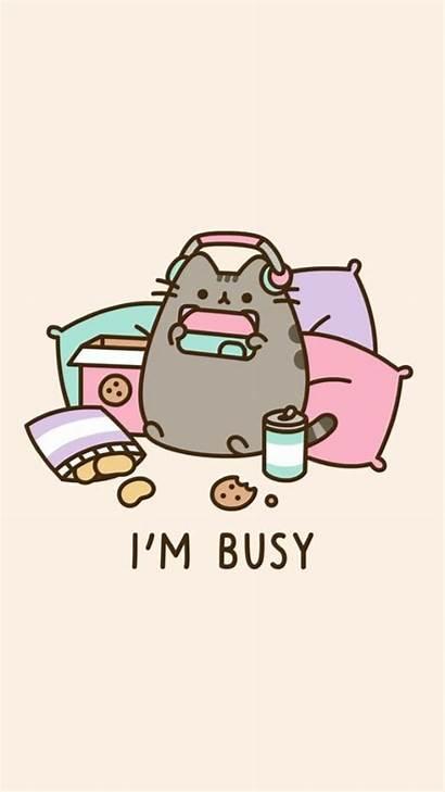 Pusheen Kawaii Wallpapers Cat Busy Phone Wallpapersafari