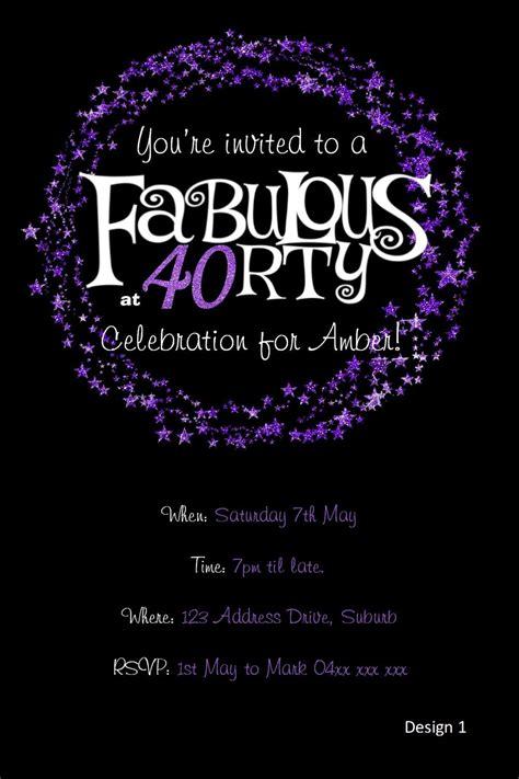 40th Birthday Invitation Purple Glitter Invitation YOU