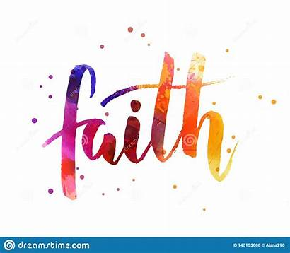 Faith Watercolor Calligraphy Lettering Abstract Clipart Dreamstime