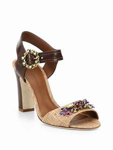 Dolce & gabbana Bejeweled Leather And Raffia Sandals in ...
