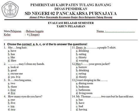 soal bahasa inggris sd kelas 4 soalujian net