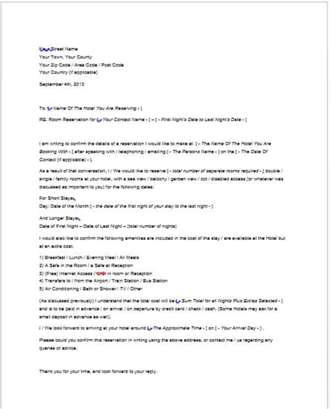 hotel reservation letter smart letters
