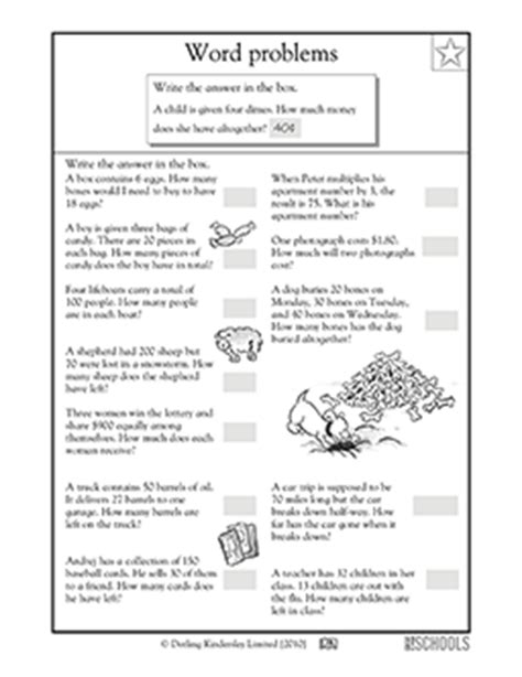 3rd grade 4th grade math worksheets word problems