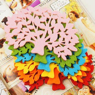 Tree Cup Mat free shipping wholesale colorful felt tree design