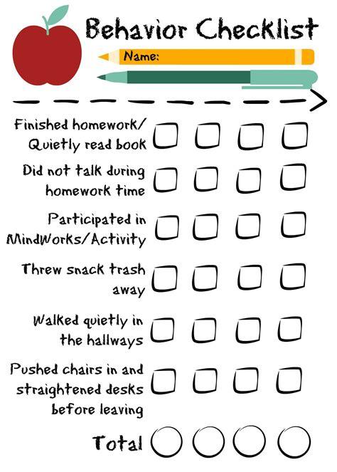 preschool behavior checklist behavior checklist for the classroom for students in 309