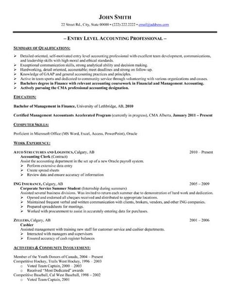 Accounting Resume Exles by Entry Level Accounting Resume Sle Experience Resumes