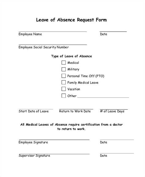 leave request forms  samples examples formats
