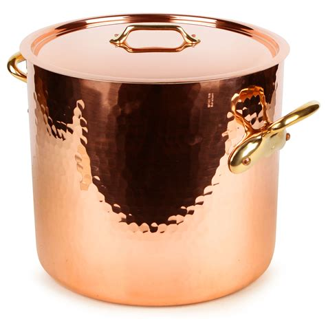 mauviel mheritage  tin lined hammered copper stock pot  quart cutlery