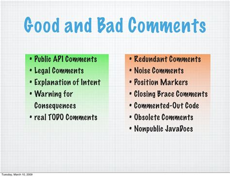 Good And Bad Comments