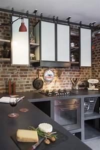etageres de cuisine de style indus en acier les ateliers With meuble ilot central cuisine 4 comptoir grand ilat central style indus metal bois