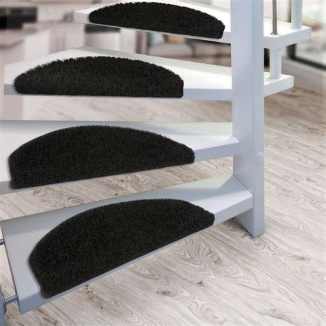 marche d escalier pas cher set de 15 marchettes escalier shaggy meches longues tapis escalier moquette noir ebay