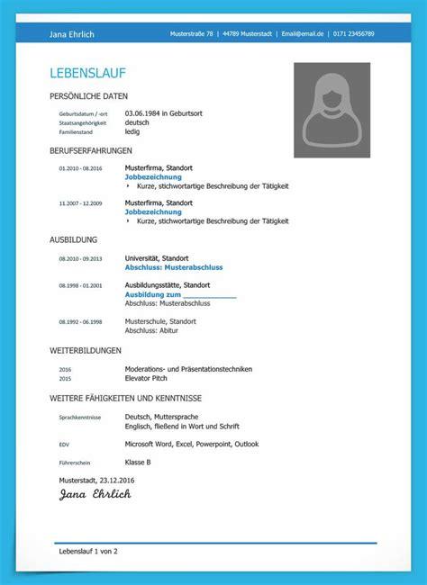 Lebenslauf Vorlage Kostenlos by Kostenlose Lebenslauf Muster Und Vorlagen F 252 R Deine