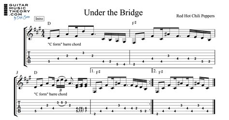 under the bridge chords and tab guitar music theory by