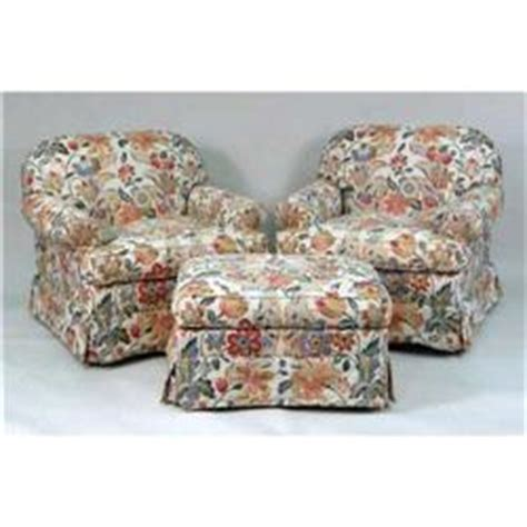 Overstuffed Chairs With Ottoman by Two Overstuffed Arm Chairs And Matching Single Ottoman