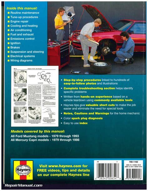 how to download repair manuals 1993 mercury capri electronic valve timing haynes ford mustang 1979 1993 mercury capri 1979 1986 auto repair manual
