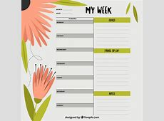 Weekly planner with flowers Vector Free Download