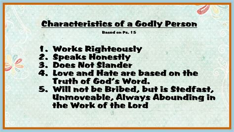 Characteristics Of A Godly Person