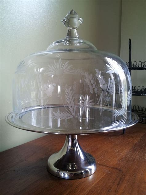 glass cake stand dome cover crystal dome stainless