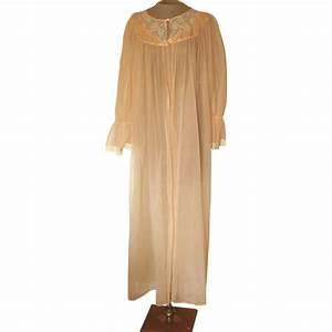 Vintage peach sheer robe with lace and applique from beca for Peach robe