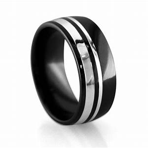 Mens wedding bands alpha rings for Black wedding ring men