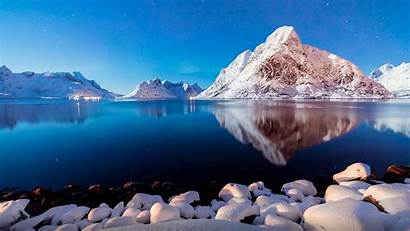 Peaceful Desktop Winter Lake Water Mountains Snow