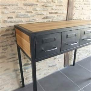 meuble tv industriel a tiroirs et niche pour les appareils With fabriquer un meuble d entree 1 le meuble console d entree complate le style de votre