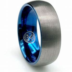 the blue steel tungsten carbide with blue inlay wedding With manly mens wedding rings