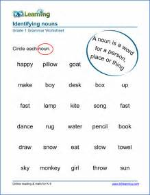 nouns for worksheets noun worksheets for elementary school printable free k5 learning