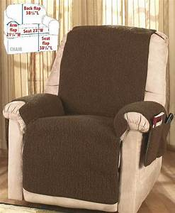 Brown fleece recliner cover protector with storage pockets for Furniture covers with pockets