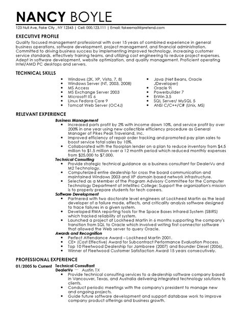 Business Management Resume by Professional Business Management Templates To Showcase