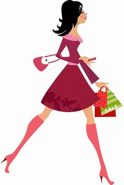 Shopping Clipart Cartoon Drawing Transparent Woman Bags