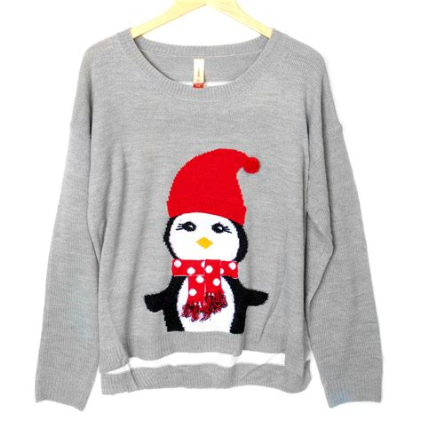penguin sweater lightweight hi lo penguin tacky sweater