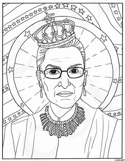 Coloring Ruth Bader Ginsburg Pages Feminist Rbg