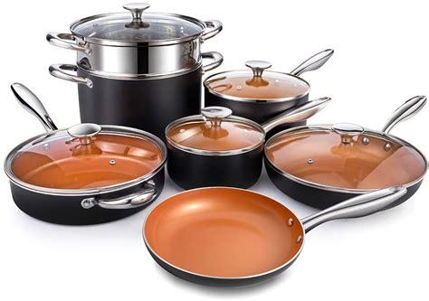 michelangelo copper pots  pans set nonstick  piece ultra nonstick copper cookware set