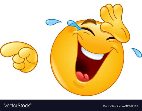 laughing  tears  pointing emoticon vector image